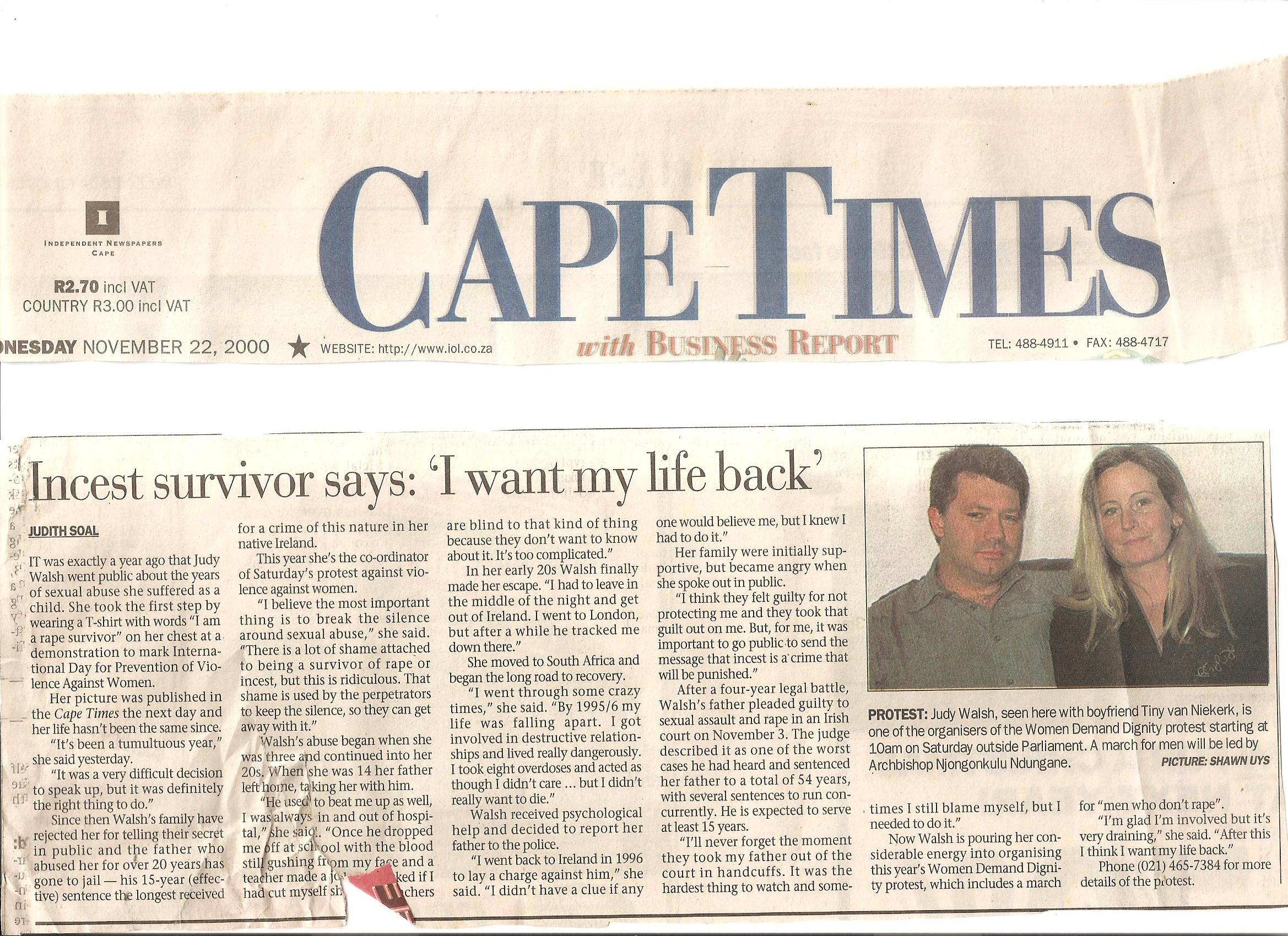 Cape Times SA Nov 2000
