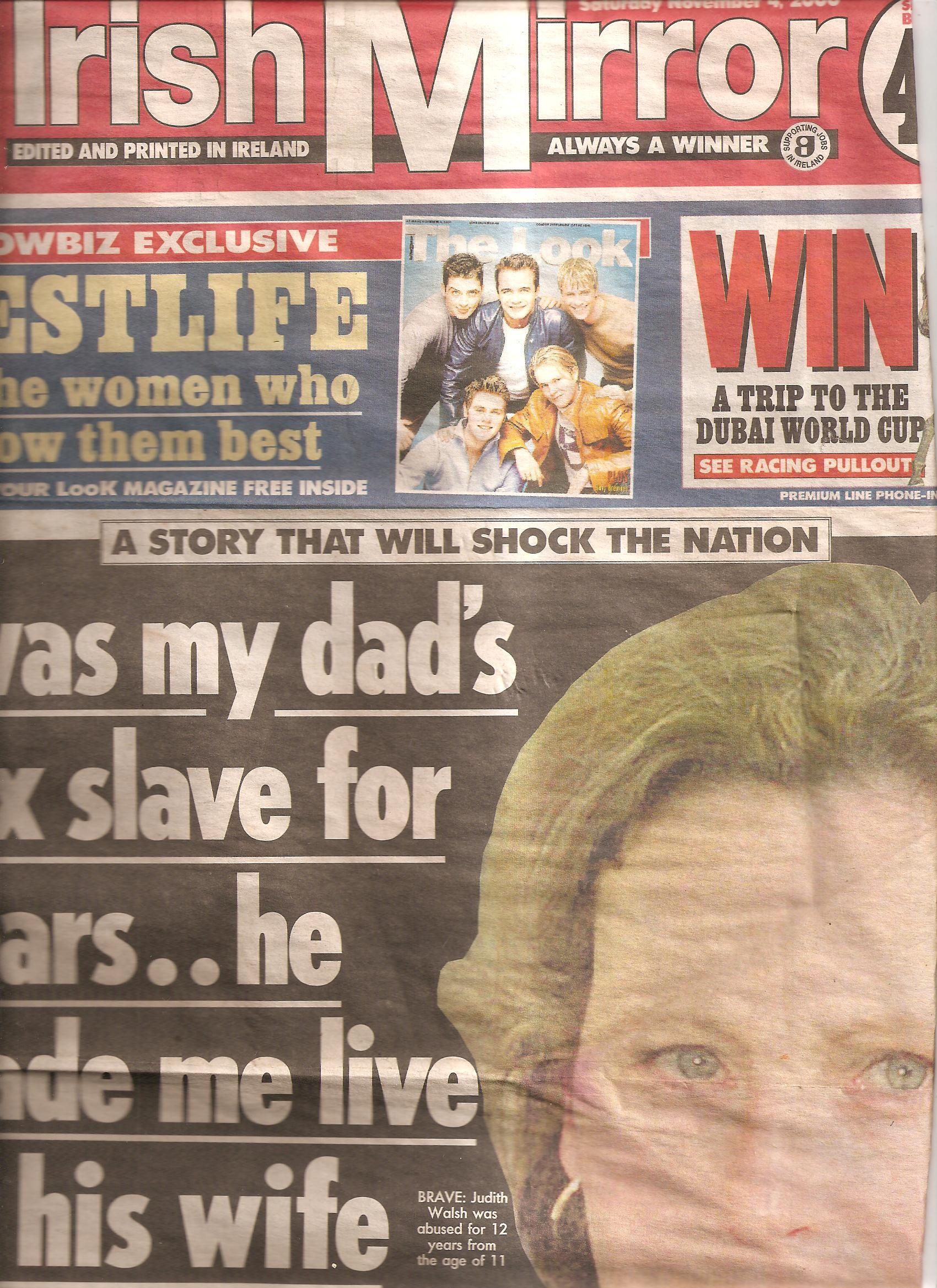 Irish Mirror page 1